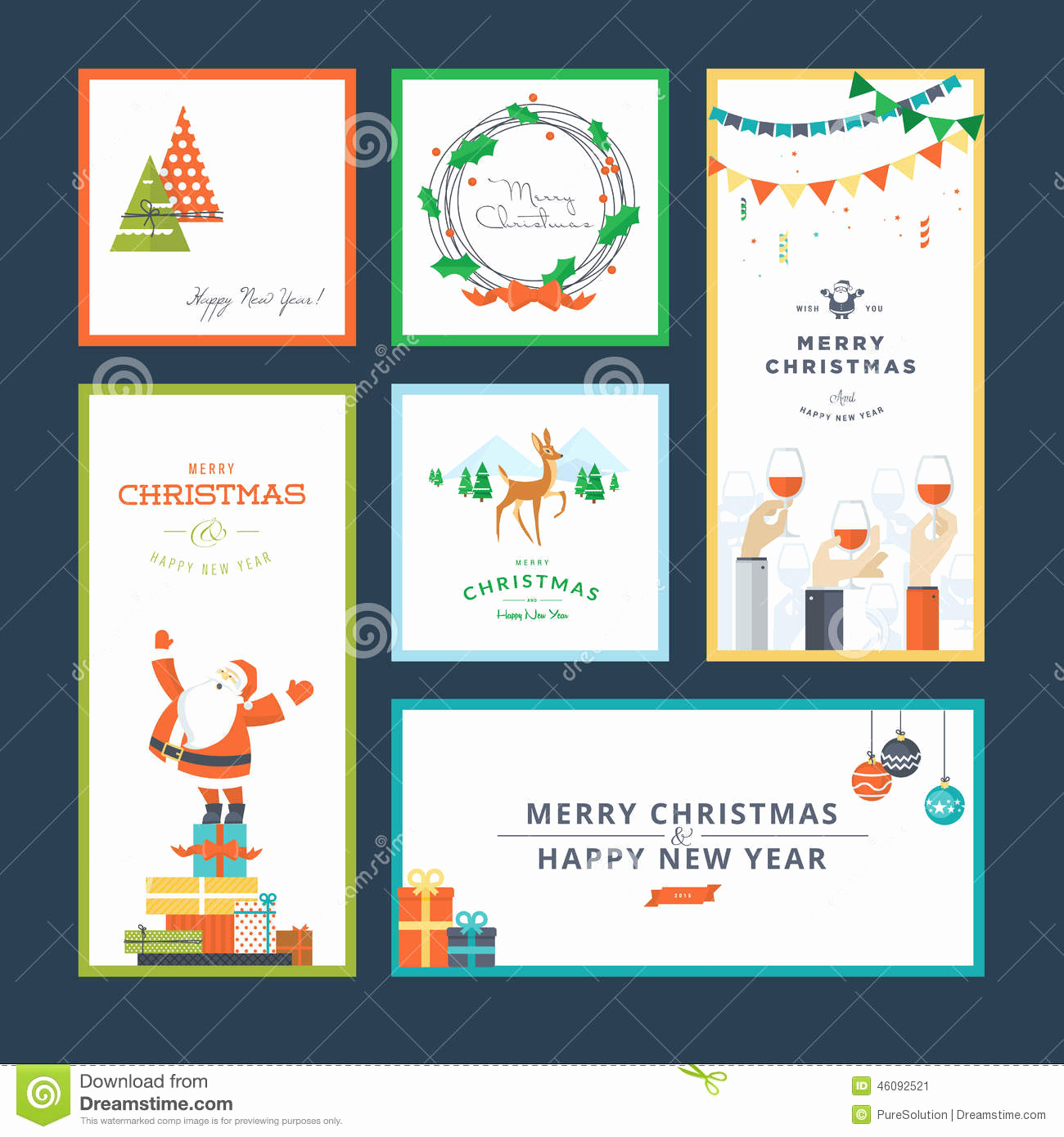 New Year Card Template Best Of Set Flat Design Christmas and New Year Greeting Card