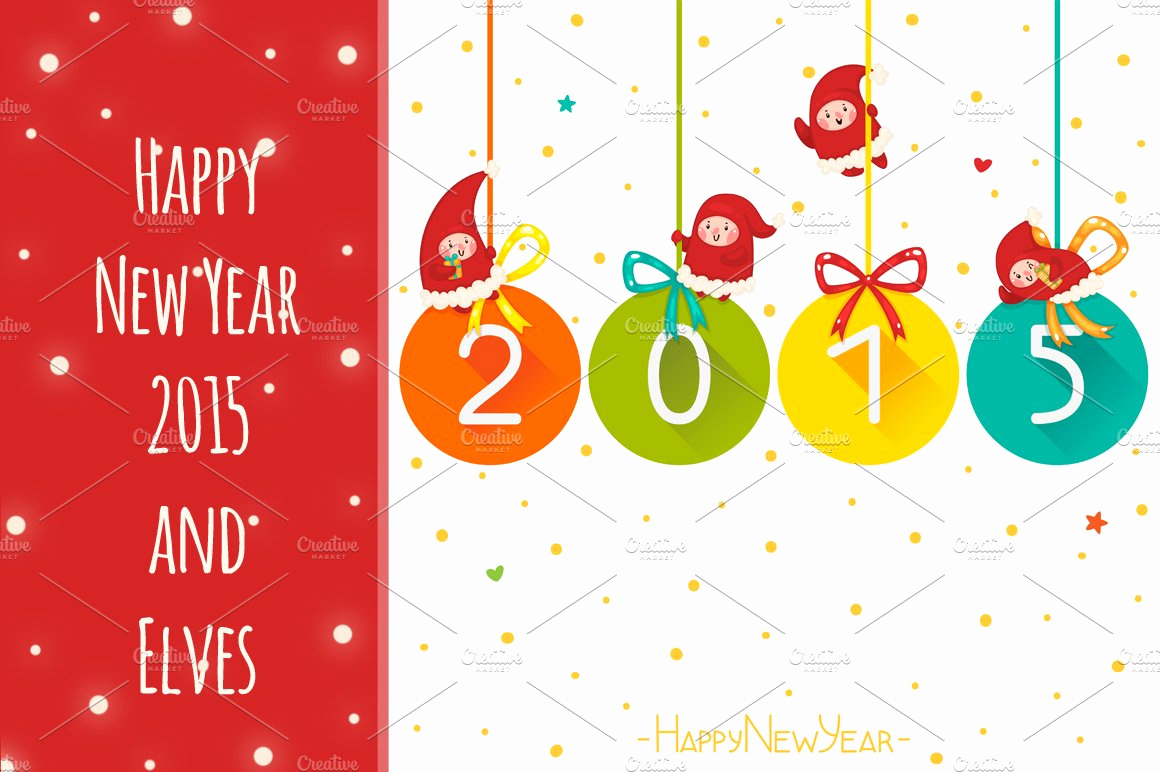 New Year Card Template Inspirational Happy New Year 2015 and Elves Card Templates Creative