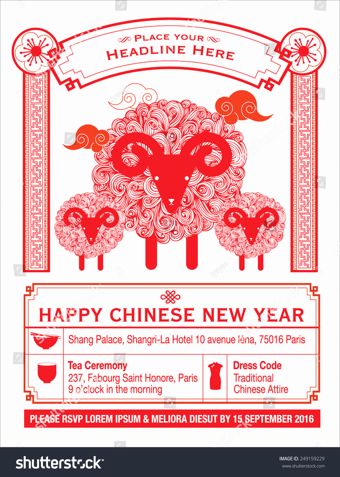 New Year Card Template Luxury Chinese Calendar Chinese New Year Card Stock Vector