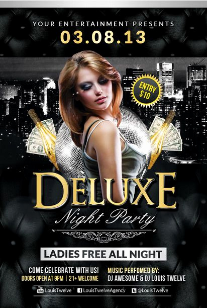 Night Club Flyer Templates Awesome Free Deluxe Night Club Psd Flyer Template Download Free