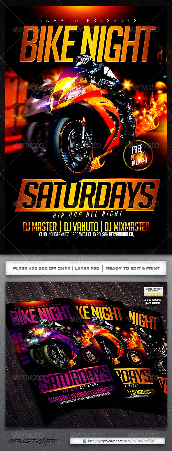 Night Club Flyer Templates Awesome Motorcycle event Flyer