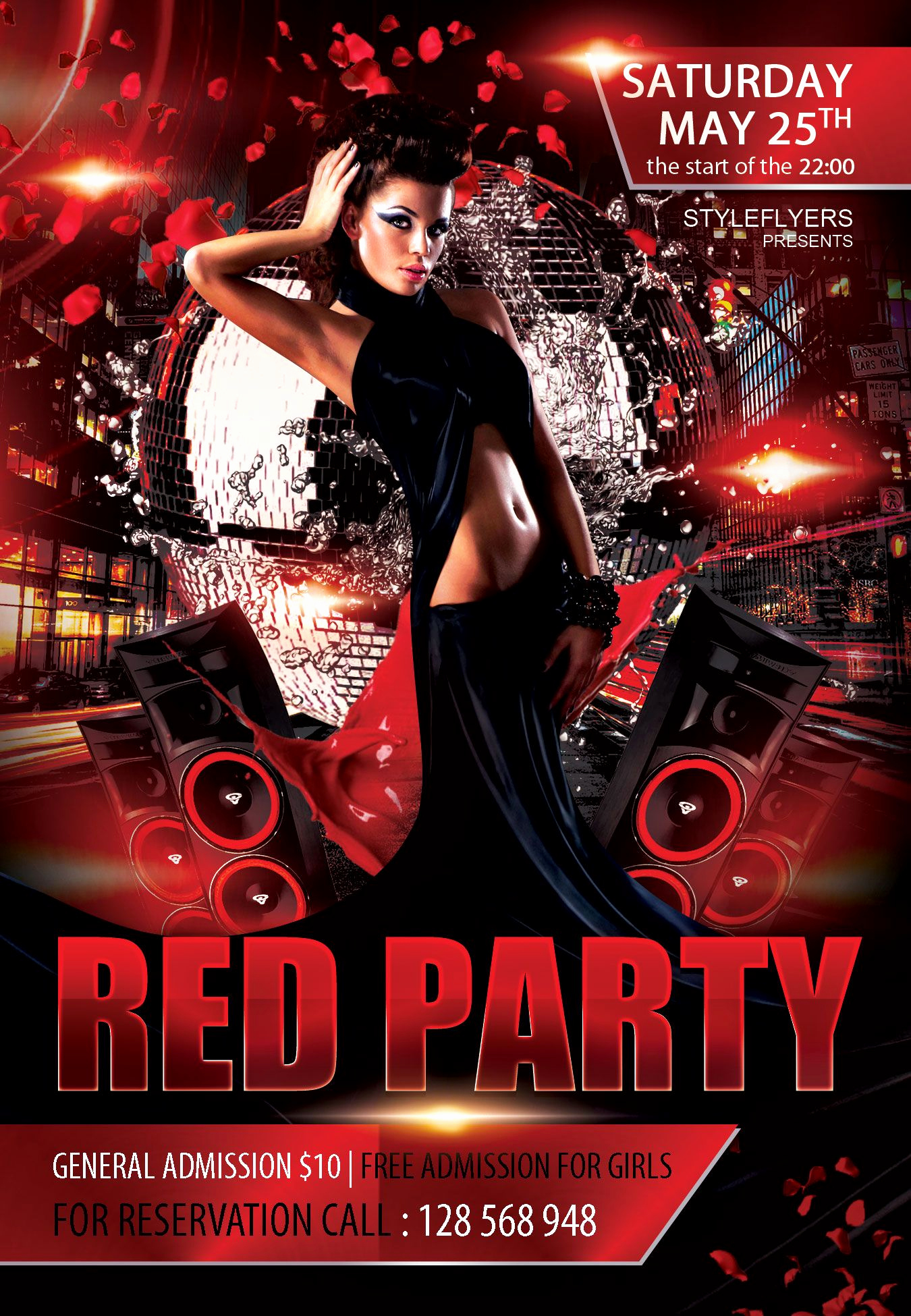 Night Club Flyer Templates Beautiful Free Red Party Flyer Psd Template Styleflyer Club