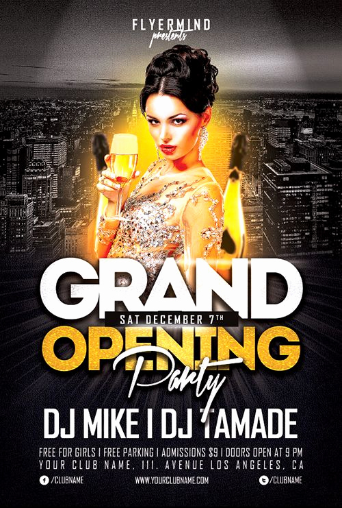 Night Club Flyer Templates Beautiful Grand Opening Party Flyer Template Freebie Free Party