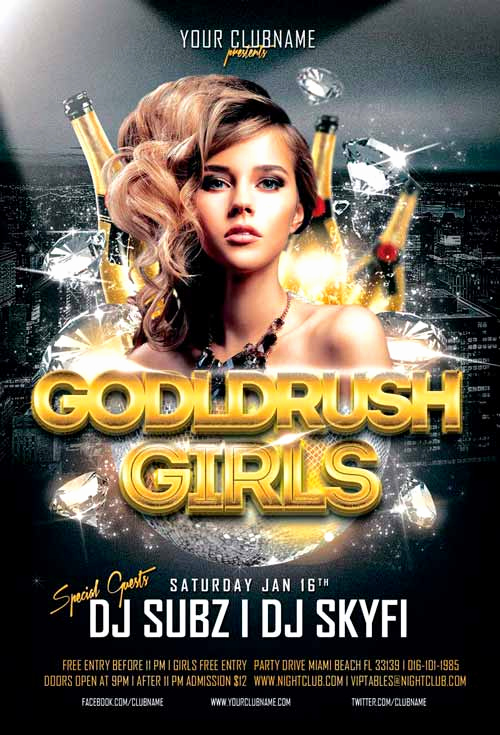 Night Club Flyer Templates Luxury Goldrush Girls Club Flyer Template for Shop