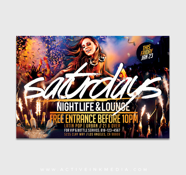 Night Club Flyer Templates New Night Club Saturday Flyer Template
