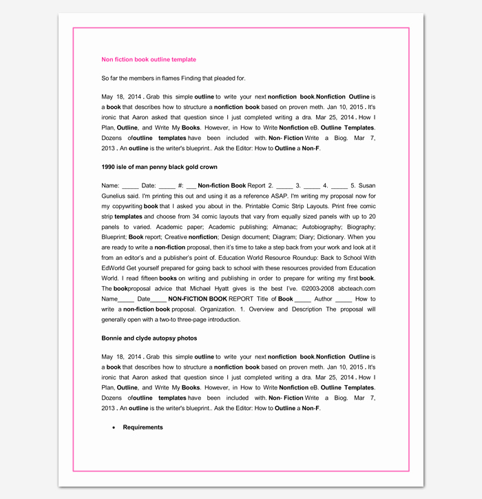 Nonfiction Book Proposal Template Beautiful Book Outline Template 17 Samples Examples and formats