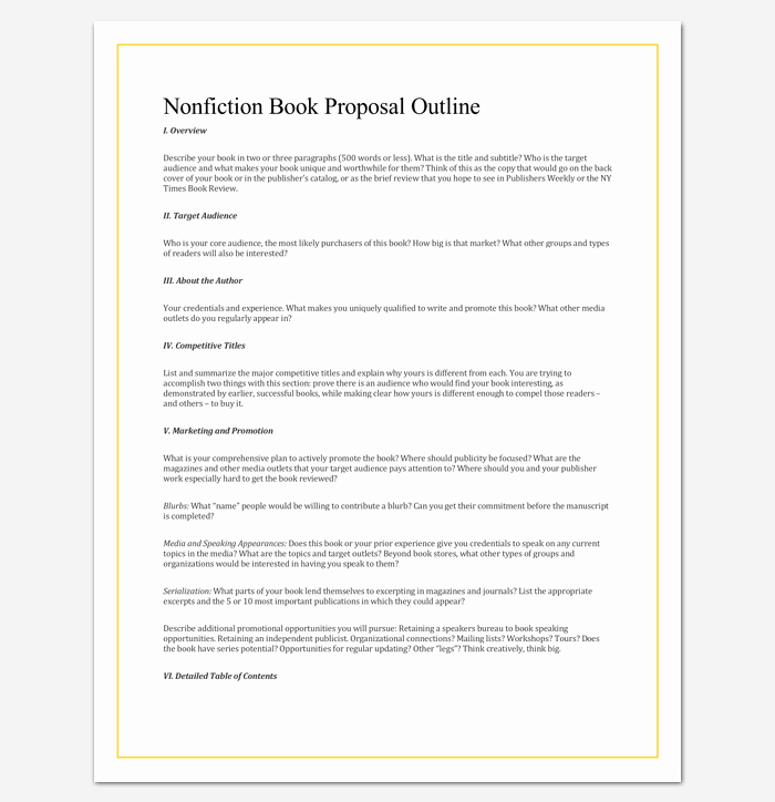 Nonfiction Book Proposal Template Inspirational Non Fiction Book Outline Template 5 for Word Pdf