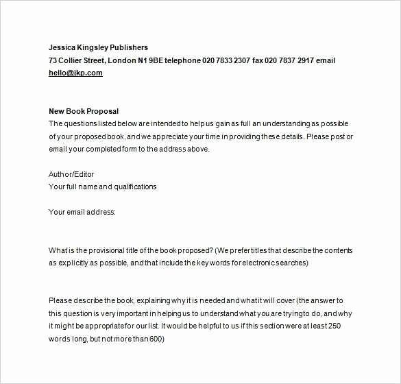 Nonfiction Book Proposal Template Inspirational Nonfiction Book Proposal Luxury Book Proposal Template