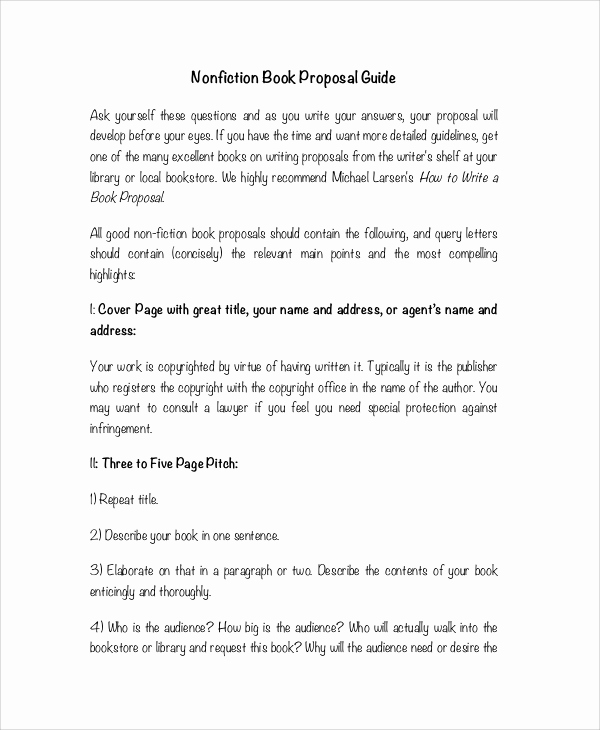 Nonfiction Book Proposal Template Unique 7 Book Writing Samples