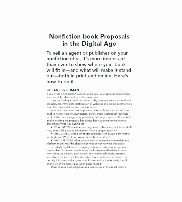 Nonfiction Book Proposal Template Unique Template for Writing A Nonfiction Book Sample Outline for