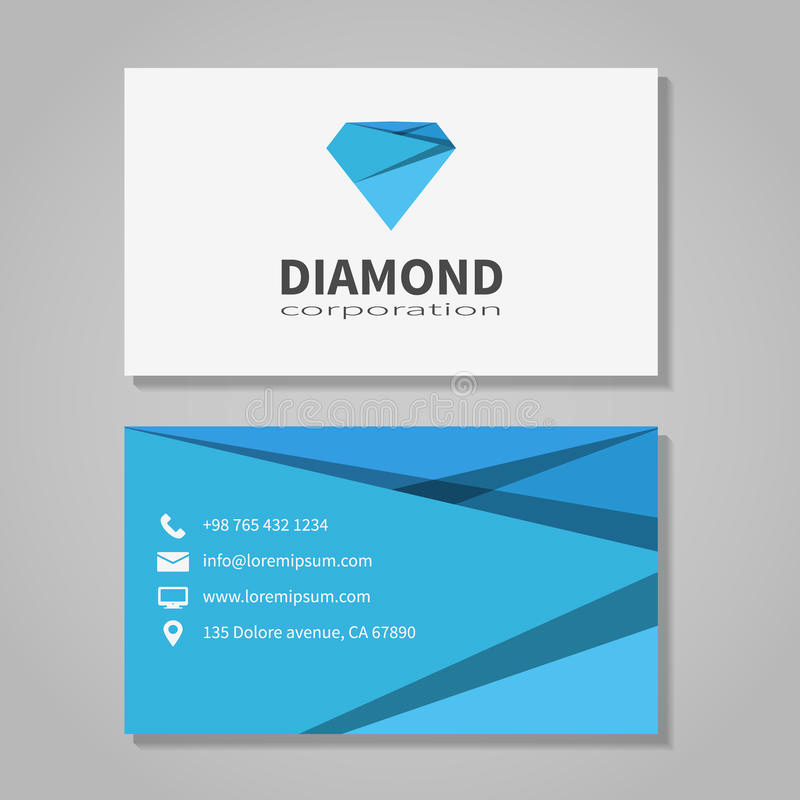 Office Business Card Template New Diamond Corporation Business Card Template Stock Vector