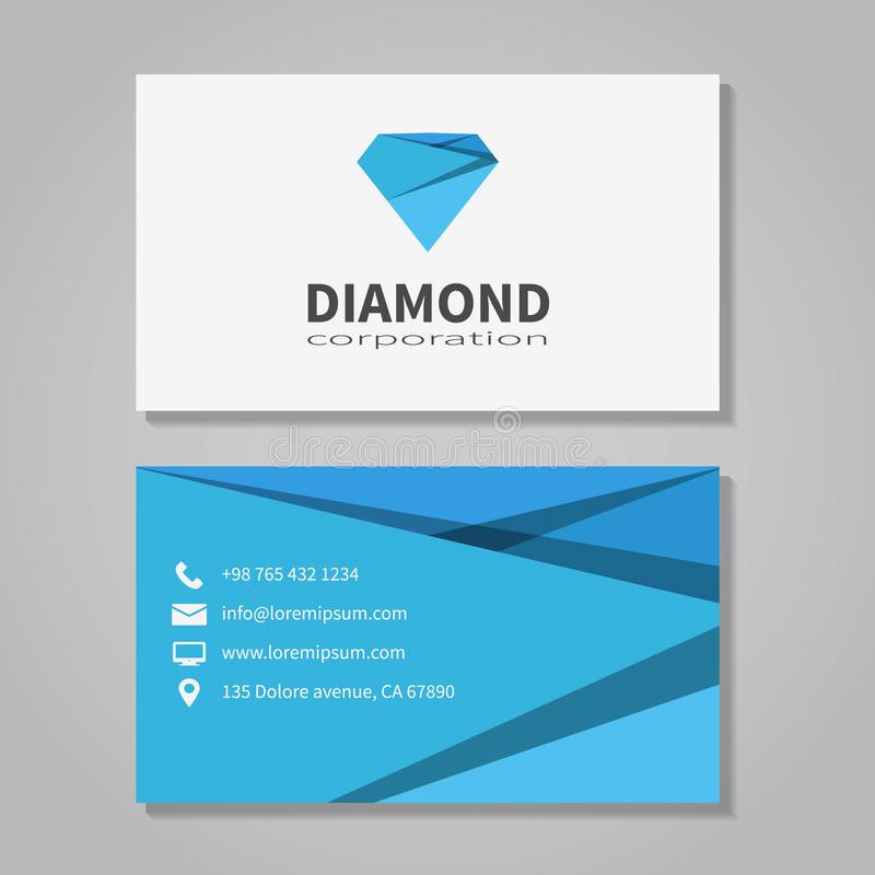 Office Business Card Template New Diamond Corporation Business Card Template Stock Vector