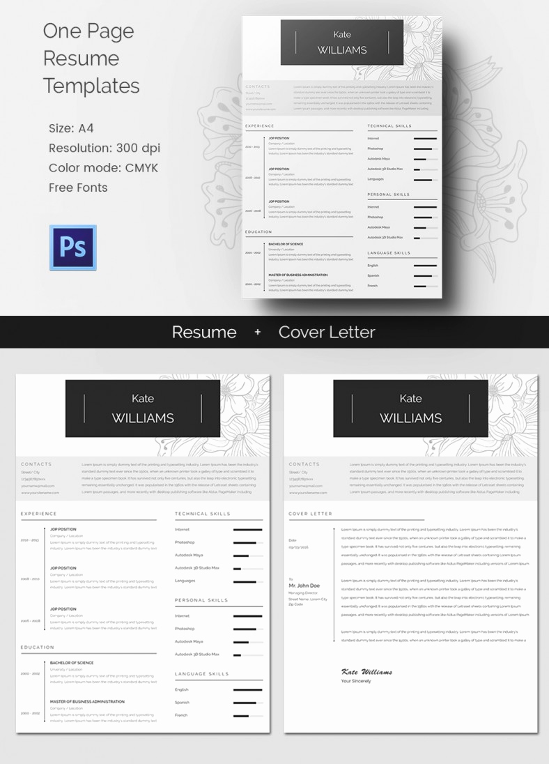 One Page Resume Template Free Beautiful 41 E Page Resume Templates Free Samples Examples