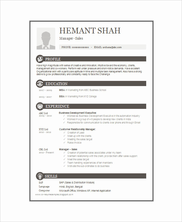 One Page Resume Template Free Best Of 16 E Page Resume Templates
