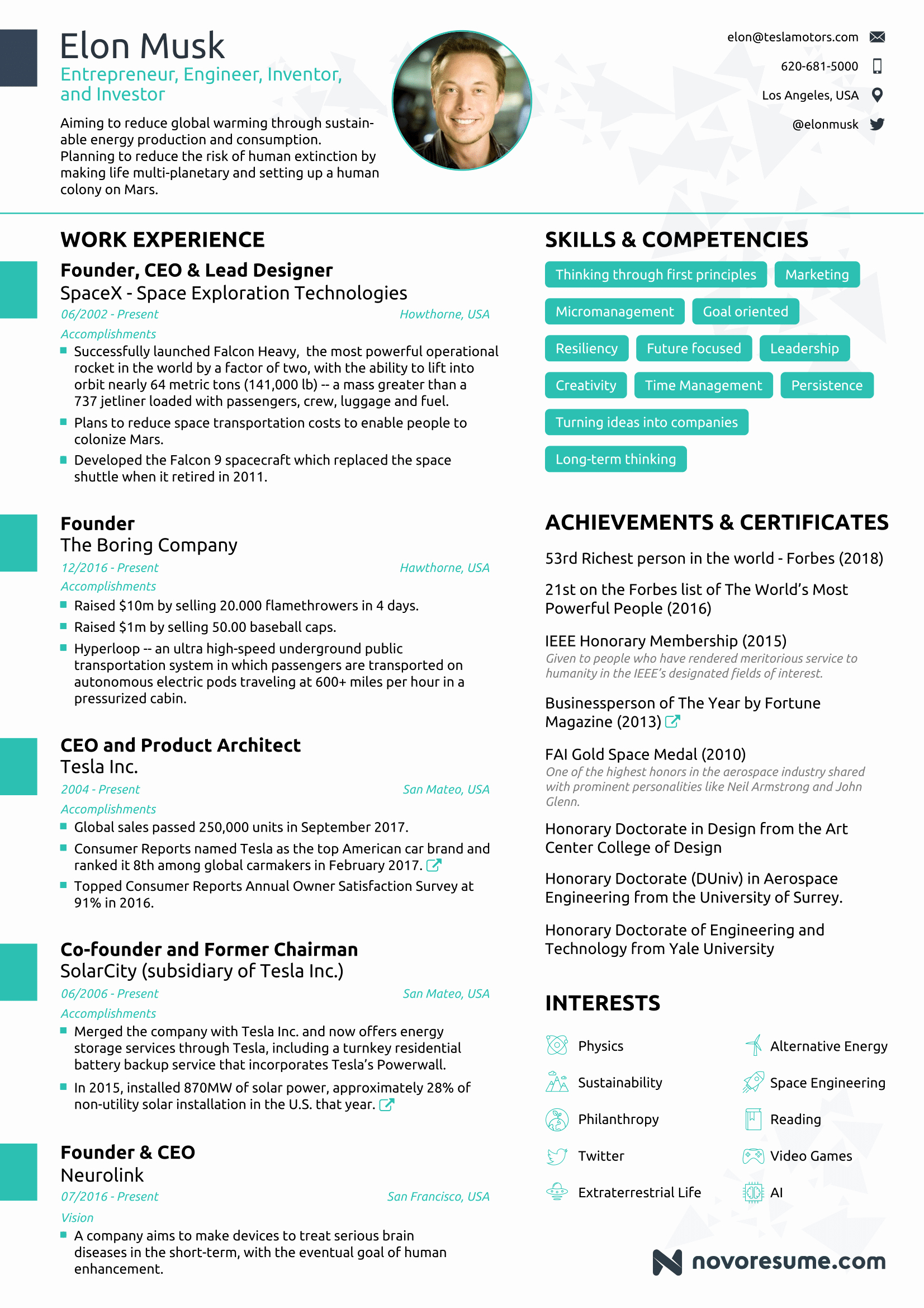 One Page Resume Template Free Best Of the Résumé Of Elon Musk by Novorésumé