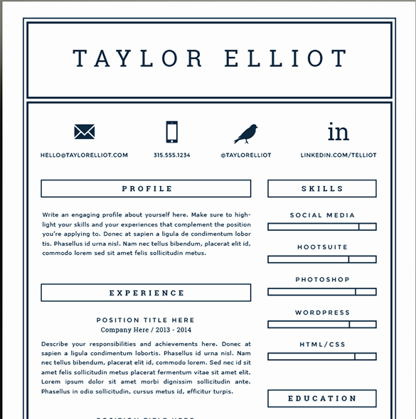 One Page Resume Template Free Fresh 41 E Page Resume Templates Free Samples Examples