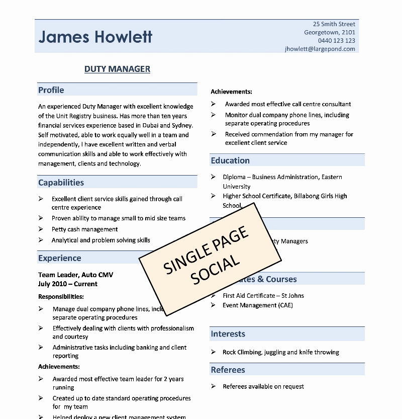One Page Resume Template Free Inspirational E Page Resume Template