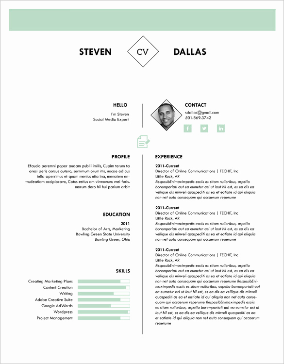 One Page Resume Template Free Lovely 41 E Page Resume Templates Free Samples Examples