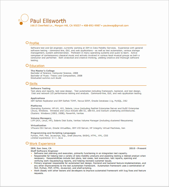 One Page Resume Template Free Lovely E Page Resume Template 12 Free Word Excel Pdf