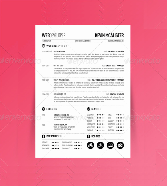 One Page Resume Template Free Luxury 41 E Page Resume Templates Free Samples Examples