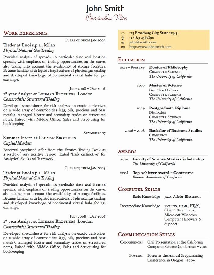 One Page Resume Template Free Luxury Two Column E Page Cv Resume Template