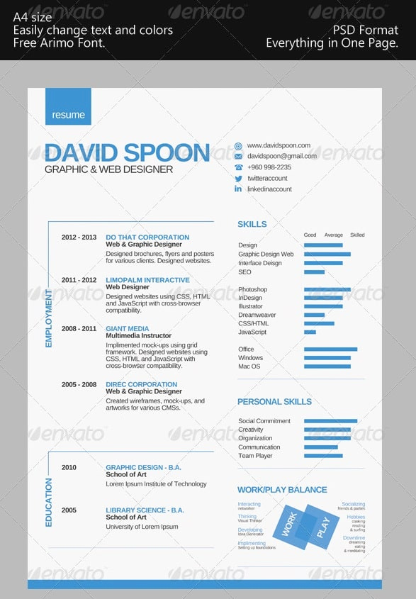 One Page Resume Template Free New Awesome Free Resume Cv Templates 56pixels