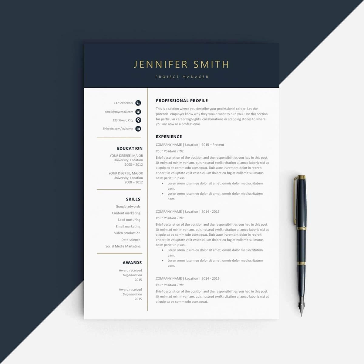 One Page Resume Template Free Unique E Page Resume Templates 15 Examples to Download and Use now