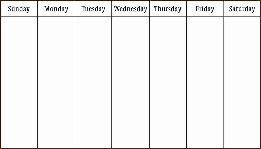 One Week Schedule Template Awesome 1 Week Calendar Template Business Proposal Templated
