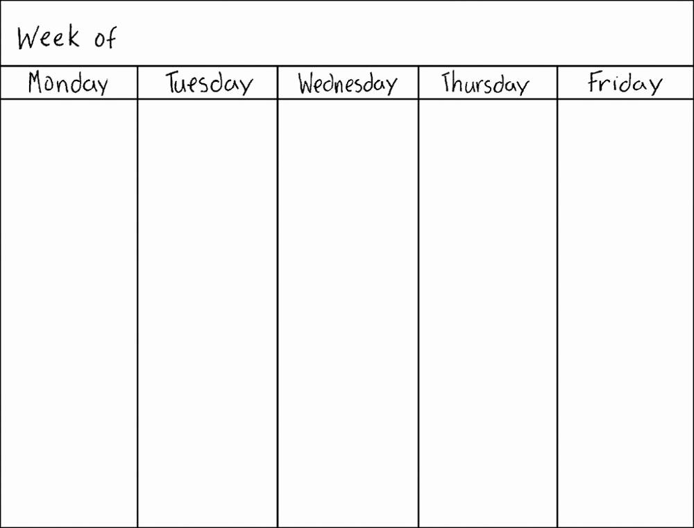 One Week Schedule Template Beautiful Blank Weekly Calendars Printable