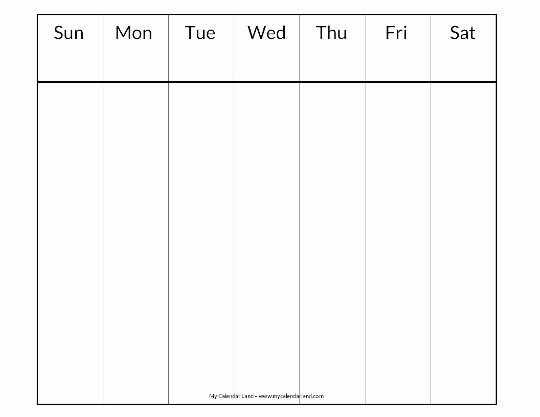 One Week Schedule Template Elegant Blank Calendar Printable My Calendar Land