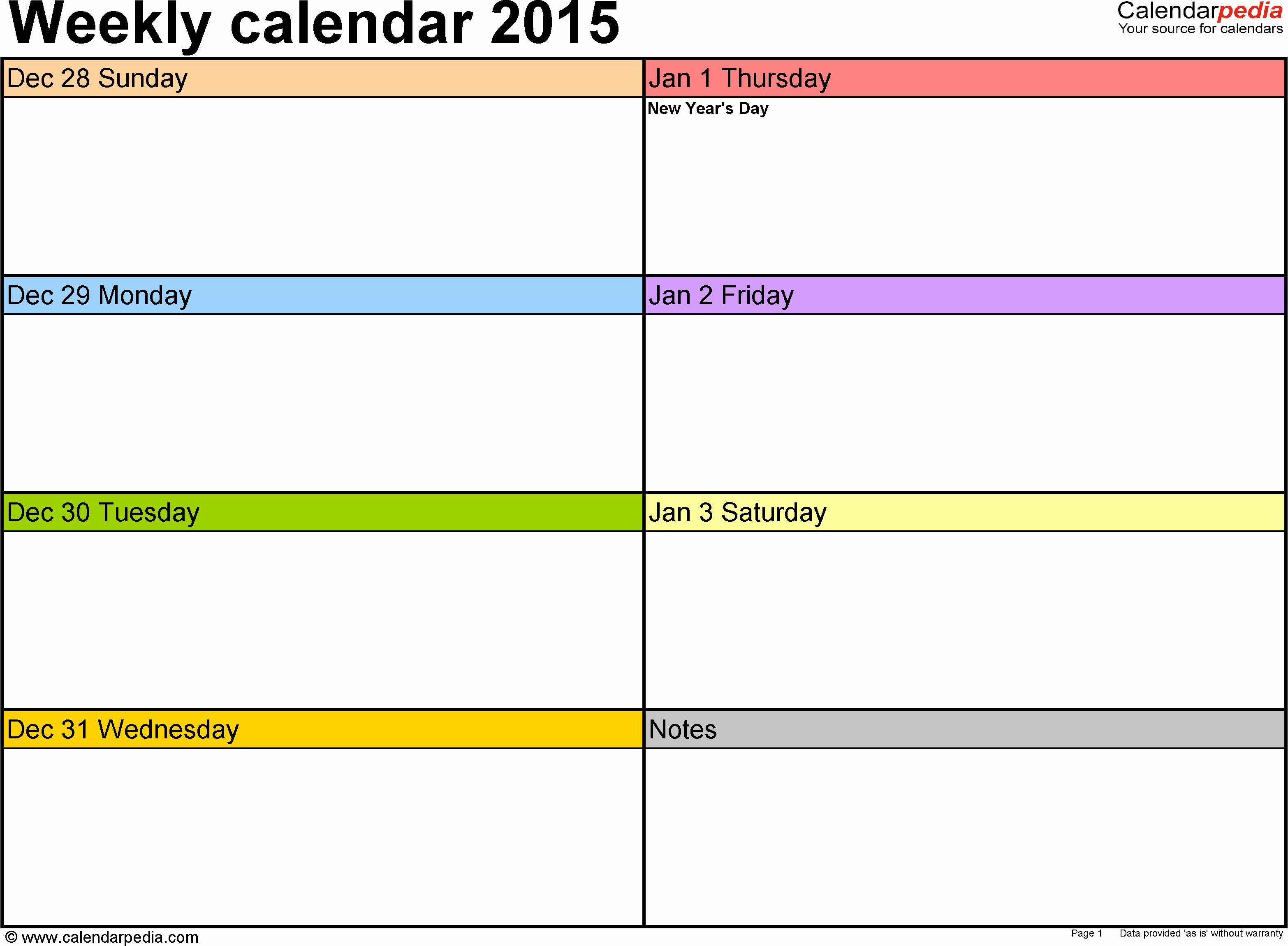One Week Schedule Template Elegant Weekly Calendar 2015 for Excel 12 Free Printable Templates
