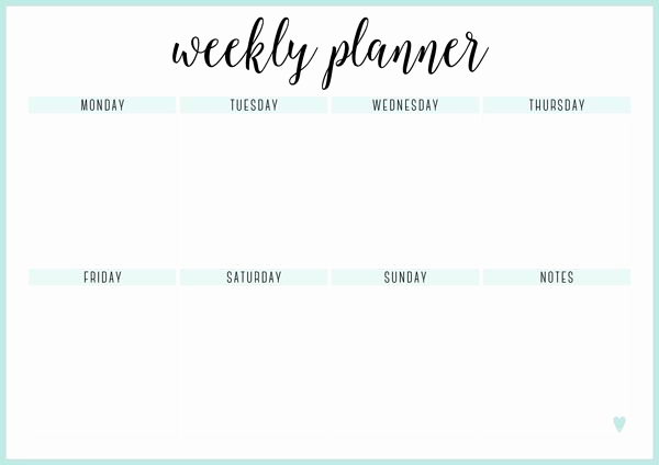One Week Schedule Template Inspirational Free Printable Weekly Calendar Template