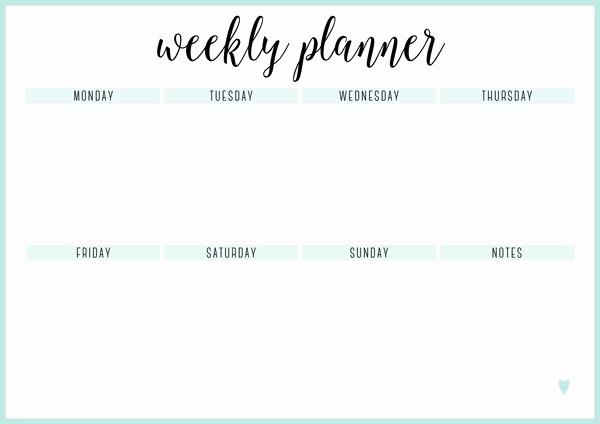 One Week Schedule Template Inspirational Free Printable Weekly Calendar Template