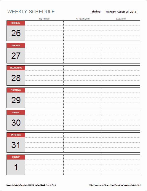 One Week Schedule Template Lovely 6 Weekly Schedule Templates Word Excel Pdf Templates