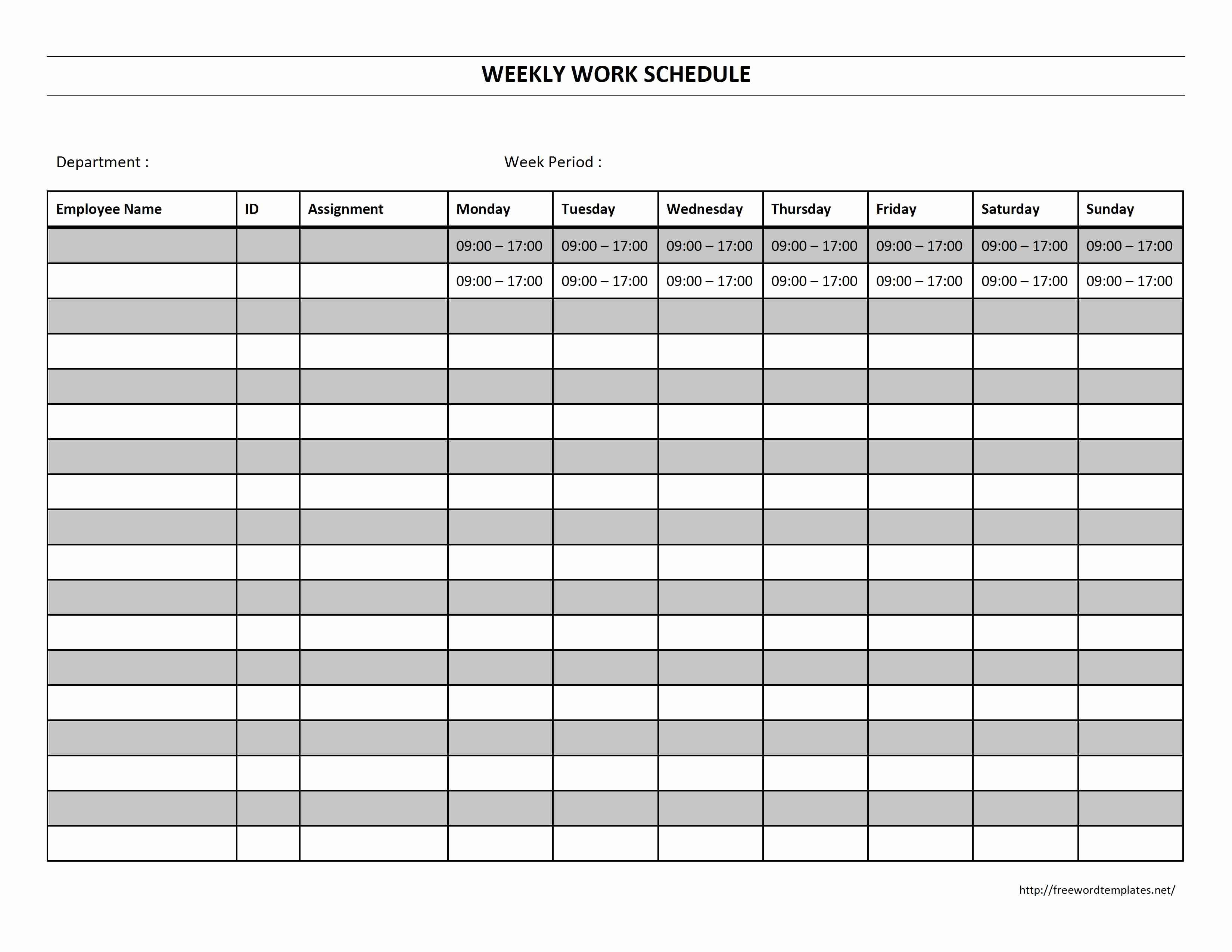 One Week Schedule Template Lovely Weekly Work Schedule