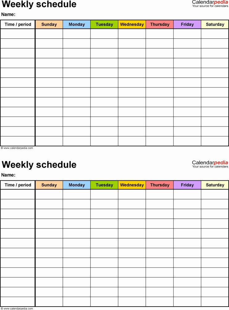 One Week Schedule Template New Free Weekly Schedule Templates for Pdf 18 Templates
