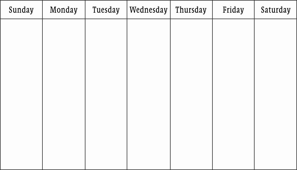 One Week Schedule Template Unique Blank Calendars Weekly Blank Calendar Templates