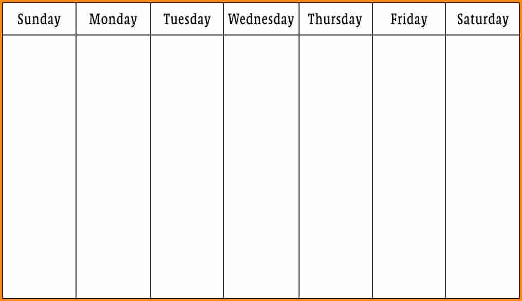 One Week Schedule Template Unique E Week Printable Calendar 1 Week Calendar Template