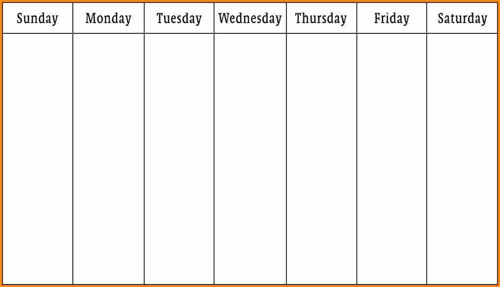 One Week Schedule Template Unique E Week Printable Calendar 1 Week Calendar Template