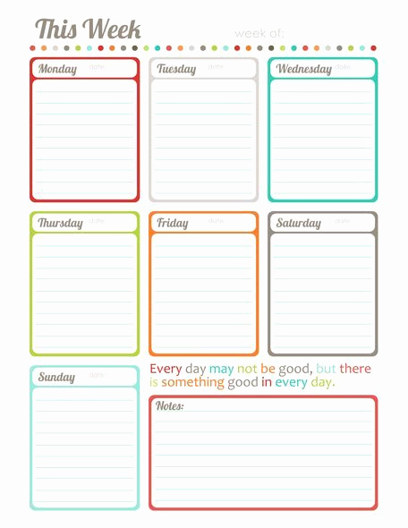 "One Week Schedule Template Unique Free Printable ""this Week"" One Page Calendar Planner by"