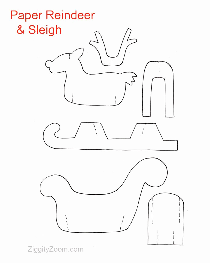 Paper Cut Outs Templates Awesome Diy Paper Reindeer & Sleigh