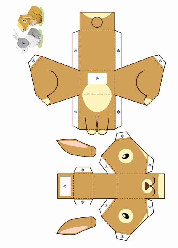 Paper Cut Outs Templates Awesome Paper toys Templates612 Lapin Paper toy Template Petit