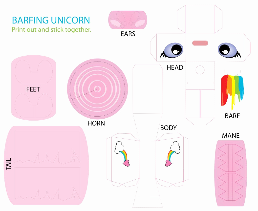 Paper Cut Outs Templates Inspirational Image Detail for Printable Unicorn Paper toy Cut Out