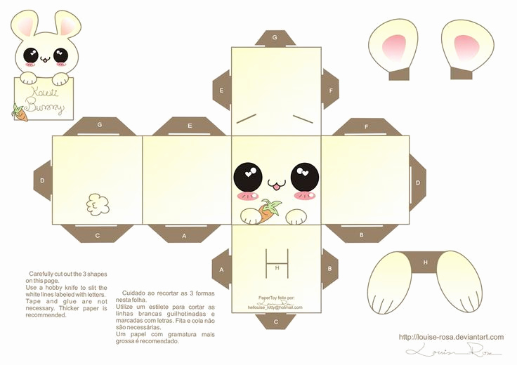 Paper Cut Outs Templates Lovely Kawaii Box Template Printable Diy and Crafts