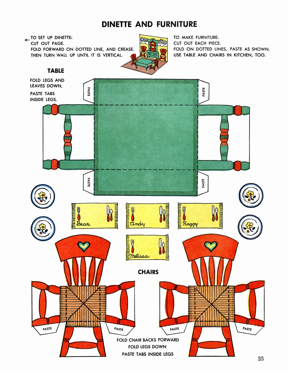 Paper Cut Outs Templates New Miniature Printables Dining Table and Chairs V