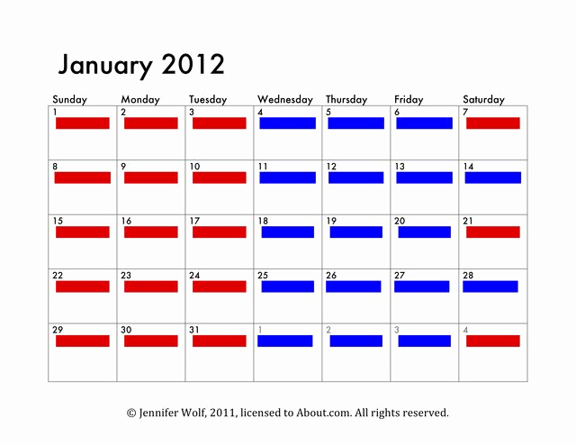 Parenting Time Calendar Template Awesome 6 Sample Joint Custody Schedules A 3 3 4 4 Day Rotation