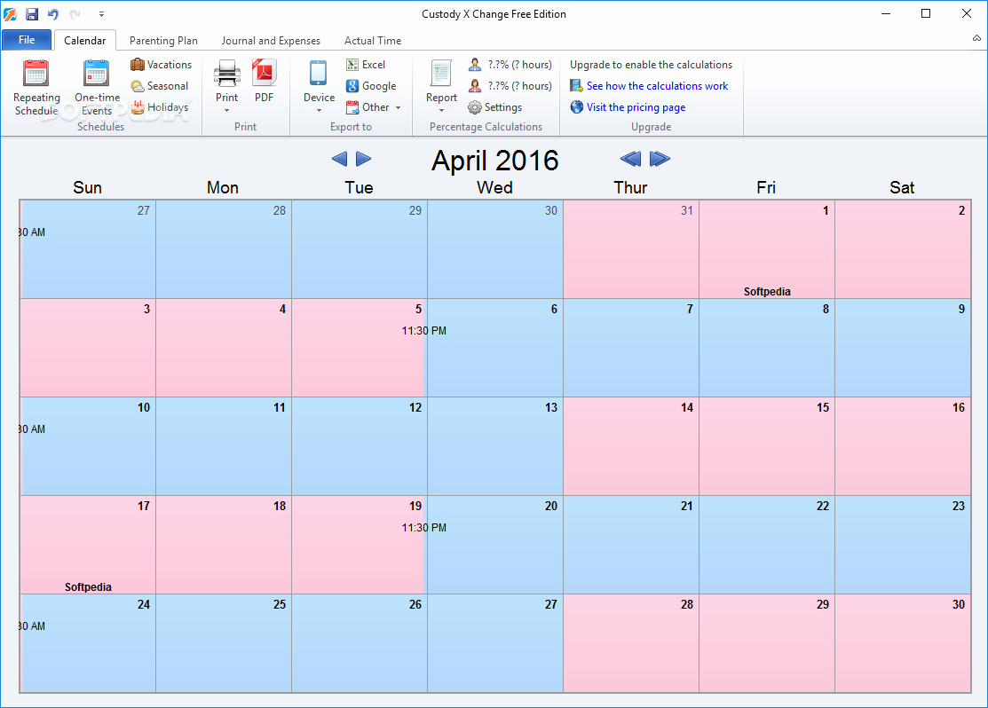 Parenting Time Calendar Template Awesome Download Custody X Change 5 25