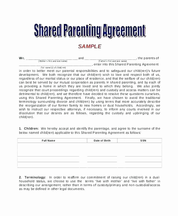 Parenting Time Calendar Template Beautiful Parenting Schedule Template Custody Agreement Example