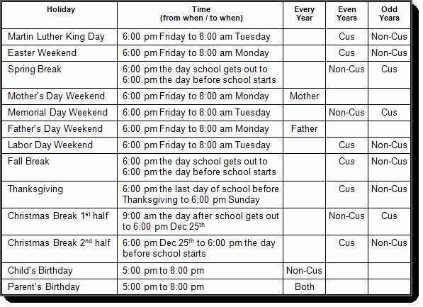 Parenting Time Calendar Template Elegant Alabama Custody and Visitation Schedule Guidelines Al