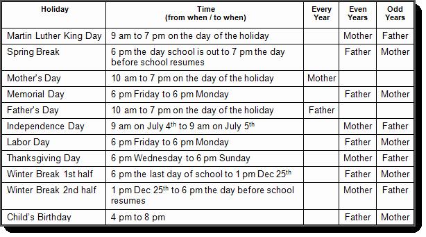 Parenting Time Calendar Template Elegant Ohio Custody and Visitation Schedule Guidelines Oh